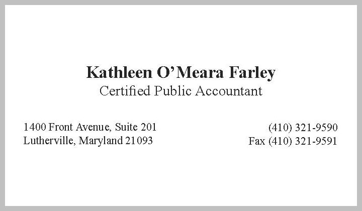 Kathleen O'Meara Farley, CPA, Lutherville MD